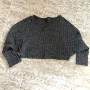 Tops - Charcoal Cropped Sweater